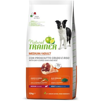 Trainer Natural Dog sa sirovom šunkom i pirinčem za odrasle pse srednjih rasa 12kg