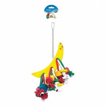 Duvo+ Igračka za ptice Polumesec sa konopcem i drvenim komadima