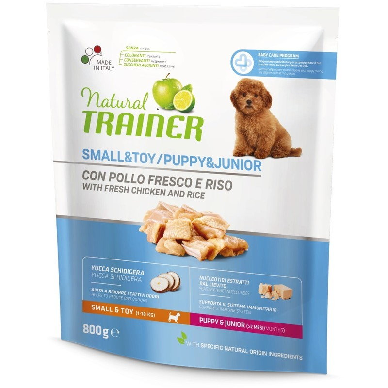 Trainer Natural Dog sa svežom piletinom za štence i mlade pse malih rasa 800g