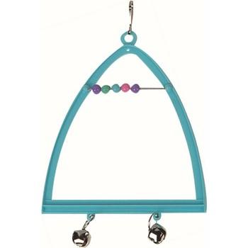 Flamingo Igračka za ptice - Trouglasta ljuljaška+Perlice+Zvono 10X13cm