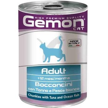 Gemon Cat Komadići tunjevine i bele ribe - Adult - konzerva 415g
