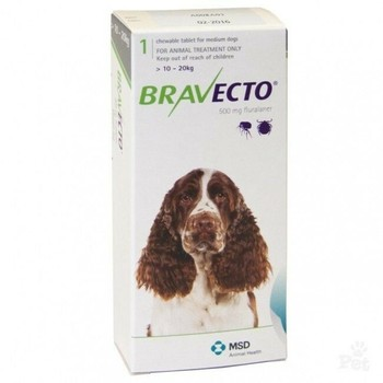 Intervet Bravecto Tableta Za Zvakanje Za Pse 10-20Kg 500Mg