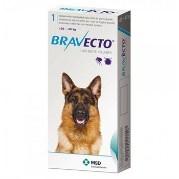 Intervet Bravecto Tableta Za Zvakanje Za Pse 20-40Kg 1000Mg