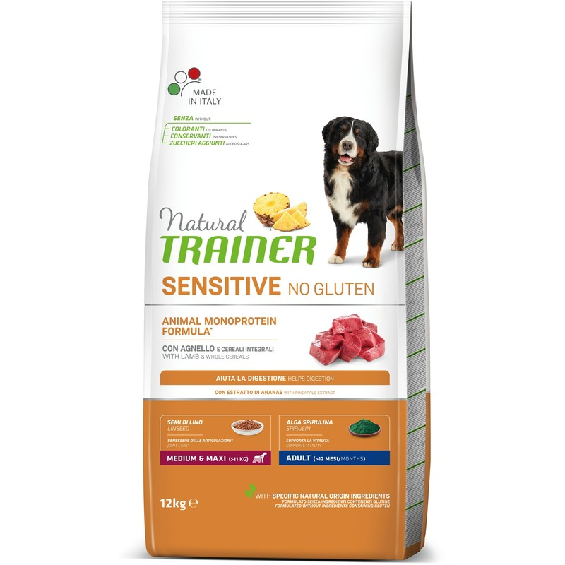 Trainer Natural Sensitive No Gluten sa jagnjetinom za odrasle pse srednjih i velikih rasa 12kg