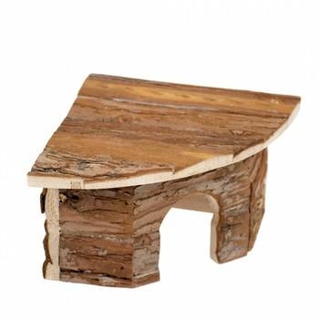Duvo+ Drvena kućica za sitne životinje ugaona Lodge Bark 22X22X13cm