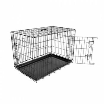 Duvo+ Kavez za pse 2vrata Plastično dno 62X44X50cm crna