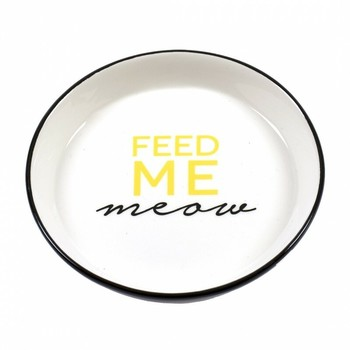 Duvo+ Činija Stone Feed Me Meow Ø13,8cm - 180ml Crna