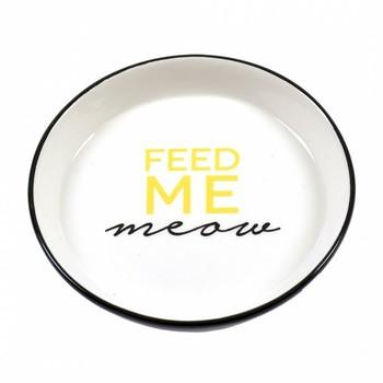 Duvo+ Činija Stone Feed Me Meow Ø15,5cm - 360ml Crna